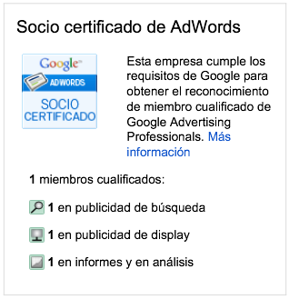 Socio Certificado de Adwords, Google Partner desde 2004, Agencia Adwords Madrid, Agencia Adwords Valencia